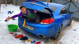 Mr. Joe in Trunk Car found Toy Cars VS Green Man on Opel Insignia OPC & Drifting on Camaro for Kids
