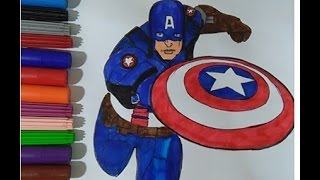 Captain America  Coloring book colouring pages for kids movie  Learn colors super hero