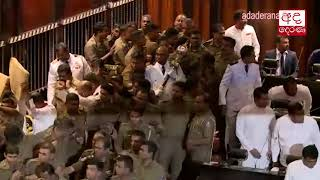Ranil Wickremesinghe enters Parliament chamber amidst police security