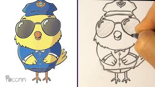 Cómo dibujar un Pollito policía Small