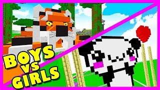 BOY VS GIRL   ANIMAL BASE BUILD CHALLENGE! Minecraft Little Kelly