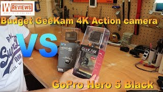 budget action camera GeeKam 4k vs GoPro Hero 5 Black 2018
