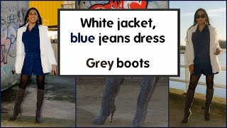 Crossdresser - blue jeans dress and grey knee high boots | NatCrys