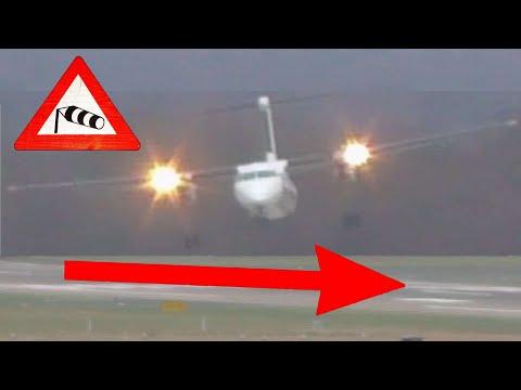 Sturm Friederike - Grandiose Pilotenleistung am Airport Düsseldorf bei bis zu 110 kmh Seitenwind