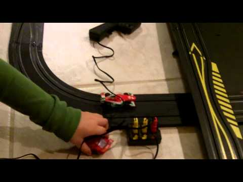 Disney Cars 2 Slot Car Racing Set in Action