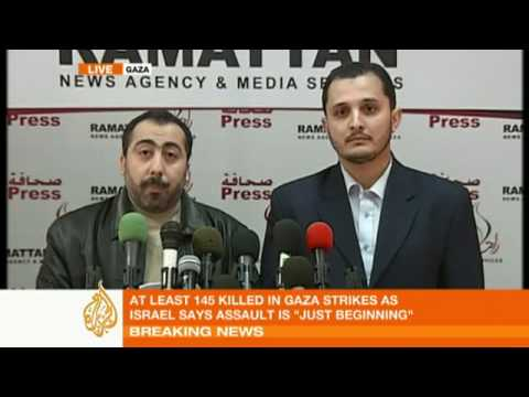 Hamas press conference after Israeli Gaza strikes - 27 Dec08