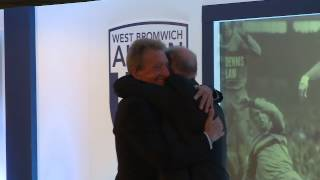 Denis Law surprises Tony 'Bomber' Brown prior to his statue unveiling at The Hawthorns