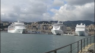 Departure Msc Orchestra and Msc Seaview in Genoa with an incredible greeting!!