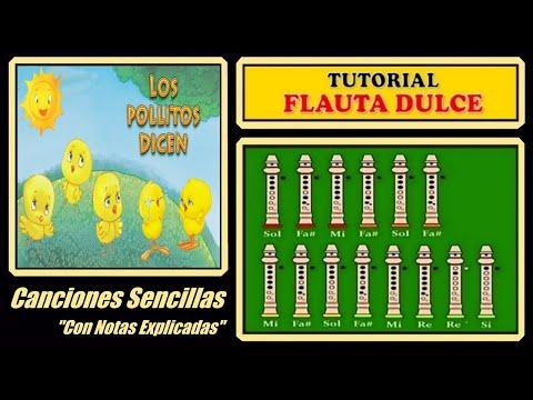 Los Pollitos dicen en Flauta Con Notas Explicadas