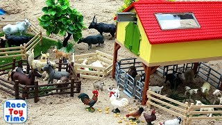 Fun Farm Animals Toys For Kids - Let's Make a Farm in the Sandbox