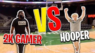 Hooper VS Pro 2K Gamer! IRL 1v1 Basketball In NBA Arena!