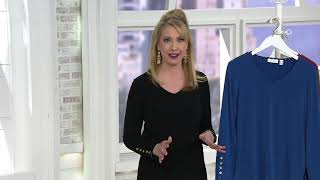 Susan Graver Liquid Knit Top with Button Detail on QVC