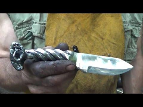 Blacksmithing Knifemaking - Forging A Ram's Head Railroad Spike Knife video