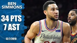 Ben Simmons hits 2nd NBA 3-pointer, scoring 34 for 76ers vs. Cavaliers | 2019-20 NBA Highlights