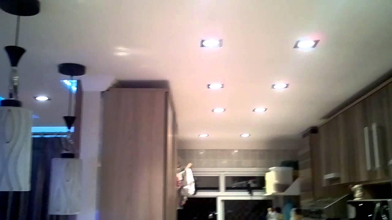 Sanca Gesso Rebaixamento de teto na Cozinha e hal de entrada YouTube -> Decoração De Gesso No Teto Da Cozinha