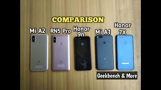 Mi A2 vs Redmi note 5 pro vs Mi A1 vs Honor 7X vs Honor 9n - COMPARISON TEST!!