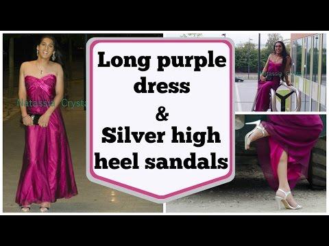 Crossdresser - long purple dress and silver high heels sandals | NatCrys