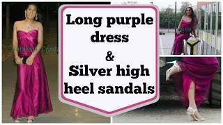 Crossdresser - long purple dress and silver high heels sandals | NatCrys