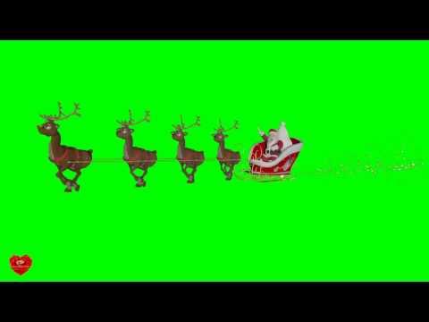 Футаж Дед Мороз на оленях хромакей