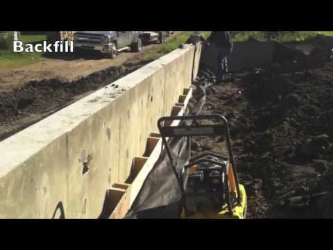 concrete retaining walls to fence on youtube. Black Bedroom Furniture Sets. Home Design Ideas
