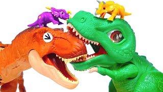 T Rex vs T Rex Battle with Dinomecard & Make a Jurassic World Stem Tyrannosaurus Rex Anatomy Kit toy