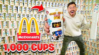 1,000 CUPS - McDonald's Monopoly Challenge!! I Spent $1,500 On McDonalds AND WON!!