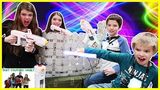 Epic Laser Tag Battle In Box Fort Maze / What Are Our Names Polls! / That YouTub3 Family