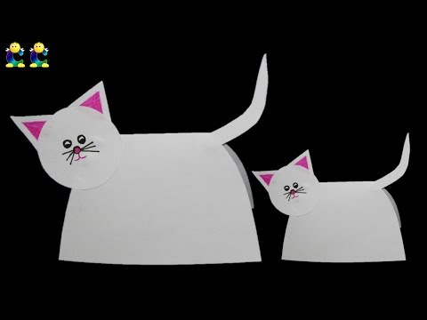 CC How to make paper kids cat ? Kids Cat with easy steps  * Kids craft