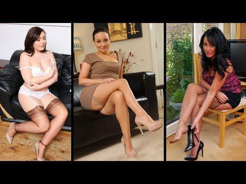 Women Wearing Tan Nylon Stockings & High Heels thumbnail