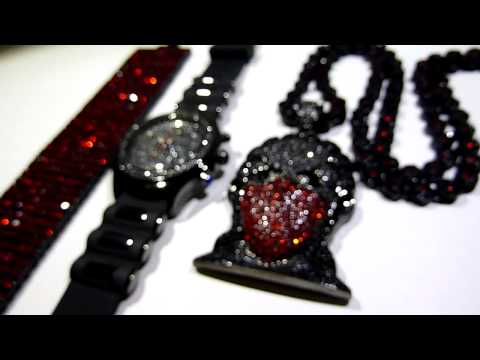 (SOLD)$165 Black/Red Gangsta Riley Boondocks combo! Pendant +Cluster Chain +12 row bracelet +Watch