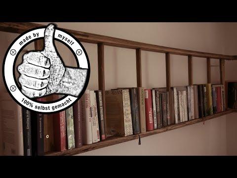 Bücherregal selber machen Leiterregal selber bauen DIY Anleitung