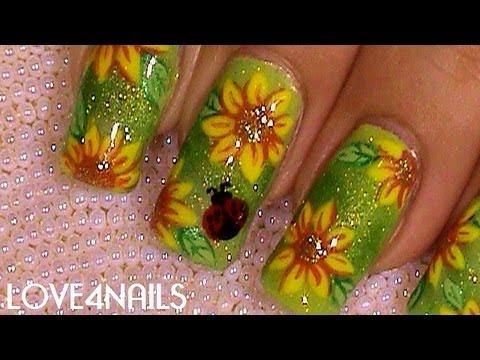 Como Pintar Flores Girasoles Y Catarina ~ Tutorial Decoracion para Uñas