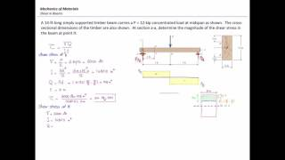 Mechanics of Materials, Lecture 19: Shear stress in beams (Prob2)
