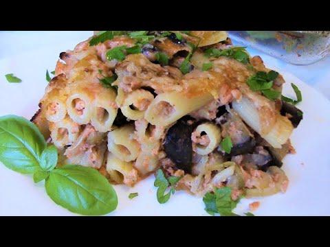 Вкуснейшая запеканка из макарон с баклажанами . Рецепт запеканки от Валентины .