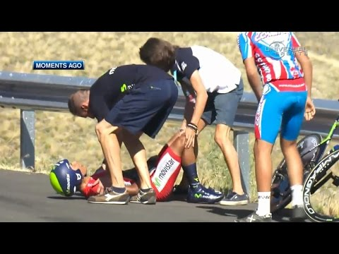 2014 Vuelta a Espana, Quintana crashes in Stage 10 - Universal Sports