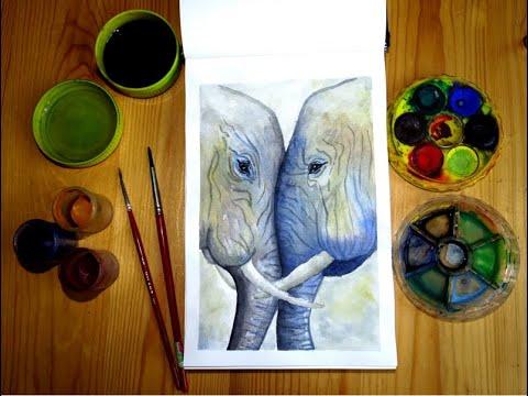 Fess velem! Elefánt festés vízfestékkel /Elefánt pár vízfesték festmény/ Akvarell