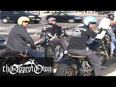 Choppers Take Off onto Freeway (Choppertown the Sinners Motorcycle DVD)