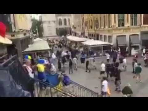 German Fans Fight Ukraine fans in Lens | Euro 2016 Violence 12/06/2016