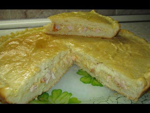 Пирог с копченой курицей и сыром