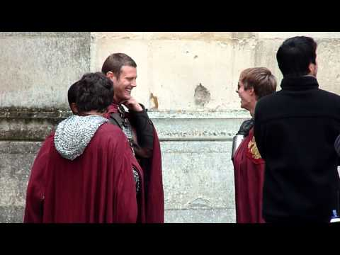 Shooting Merlin Season 5 - Bradley laughing with partners