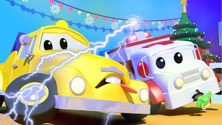 Baby Tom the TOW TRUCK Got SHOCKED With Christmas Lights! -- Amber the Ambulance in Car City