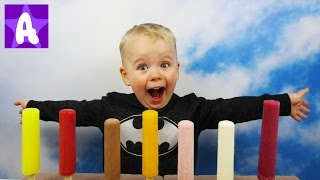 Learn Colors with Ice Cream Popsicle and Funny Baby Boy Alex / Learn Colours for Kids