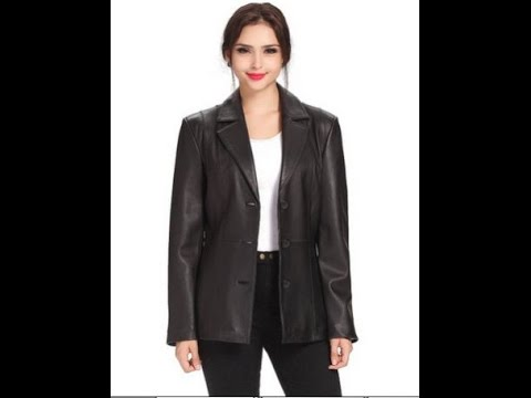 Women Leather Jacket | BGSD Crystal Three Button Lambskin Leather Blazer Review