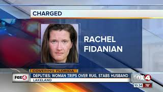 Florida  woman says she fatally stabbed husband after tripping on rug