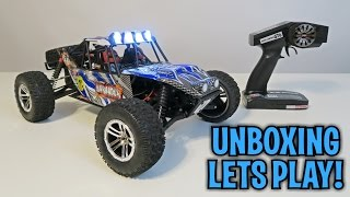 Unboxing & Let's Play - 1/10 Marauder RC Car -FS Racing 2.4G 4WD Brushed RC Racing Buggy - RTR
