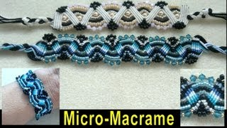 Beading4perfectionists: Micro-Macrame bracelet with Swarovski and Miyuki seedbeads beading tutorial