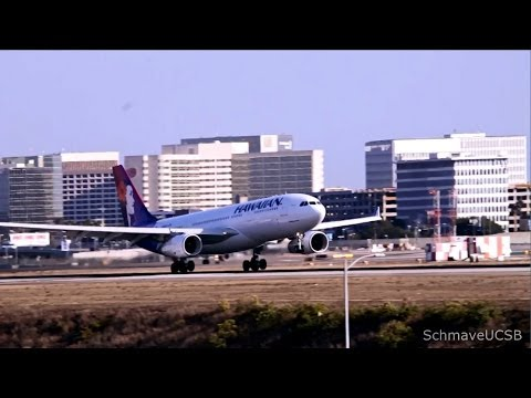 Aeroflot & Hawaiian Airlines A330-200s Landing at LAX