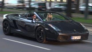 Hot Girl driving Lamborghini Gallardo Spyder