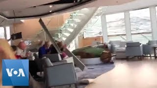 Passengers Wait on Cruise Ship in Rough Weather off Norway