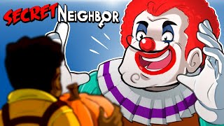 THE SECRET NEIGHBOR IS A KILLER CLOWN!!!! Halloween update (Funny Moments) 5v1!